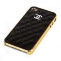 IPhone 4,4s чехол Шанель Черная с золотом