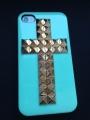 Iphone 4 4s чехол   Крест Бирюза + bronze