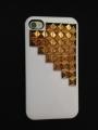 Iphone 4 4s чехол Pyramid style  Белый + bronze