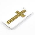 Iphone 4 4s чехол   Крест Белый + bronze