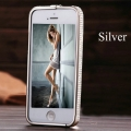 Iphone 5 Серебряный Silver bumper with diamond swarovski бампер