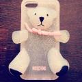 чехол Moschino Bear Серебряный для Iphone 4/4s  Силиконовый
