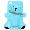 чехол Moschino Bear Голубой для Iphone 4/4s  Силиконовый