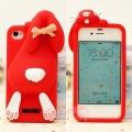 Силиконовый чехол Moschino Violetta Rabbit красный для iPhone 4/