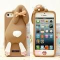 чехол Moschino Violetta Rabbit коричневый для iPhone 5/5s