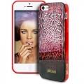 чехол Justcavalli Leopard Черно Красный Леопард для   IPhone 55s