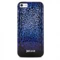 чехол  для IPhone 44s  Justcavalli Leopard Черно Синий Леопард