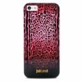 чехол  для IPhone 44s  Justcavalli Leopard Черно Красный Леопар