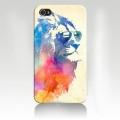 Чехол пластиковый  Лев  в очках для IPhone 4/4s