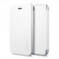 книжка для IPhone 5/5s белая кожаная Spigen Ultra Flip