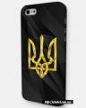 Чехол для Iphone 5 / 5s Герб Украины на черном фоне