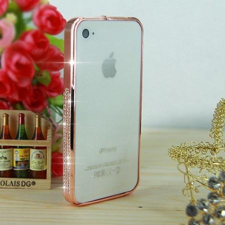 Iphone 4 4s бампер bumper c камнями сваровски розовый bronze
